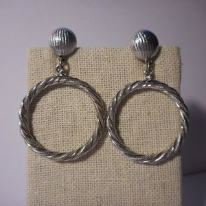 Monet Silver Tone Hoop Dangle Clip Earrings